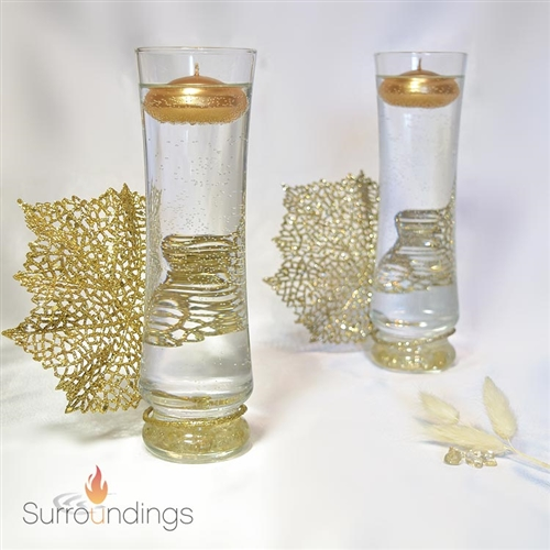 Gold Leaf Fan & Sofie Floating Candle Centerpiece kit