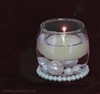 Mini Pearl cpk with bubble votive, pearl band, assorted pearts and accent spot candle