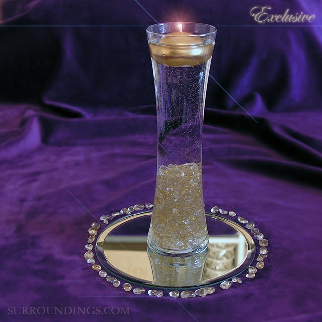 Hour Vase Glitter Pebbles Floating Candle Centerpiece