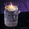 "Diamond pearl tassel around 4"" vase, being held with silver swirl hook"