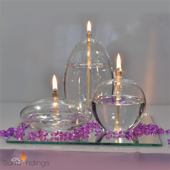 Immortal Glass Candle Oil Lamps Set of 3