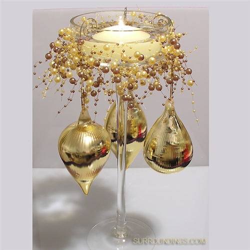 Gold glass drop ornaments