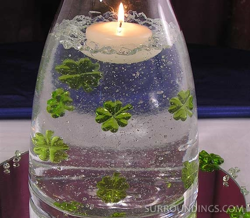 Glass ladybugs, shamrocks and daisies
