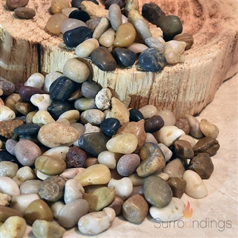 Polished river pebbles