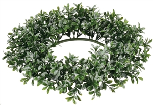 Iced boxwood wreath for table centerpieces