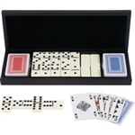 28pc Domino Set with 2 Decks of Cards in Wood Gift Box