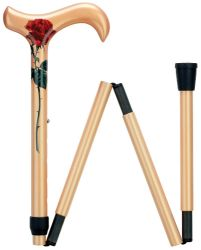 Ladie's Red Rose Folding Carbon Fiber Cane