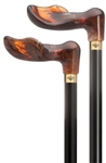 Amber Palm Handle Cane - Right Hand/Black Shaft