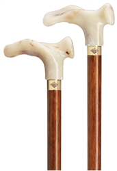 White Marble Ergonomic Handle Cane on Cherry Shaft