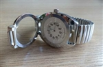 Gold  Tone Braille Watch with White Face