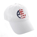 American Flag Monogram Cap in White