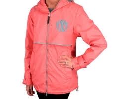 Women/'s New Englander Monogrammed Personalized Embroidered A-line Rainjacket with Hood