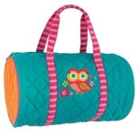 Stephen Joseph Kid's Owl Quilted Turquoise Duffle Bag