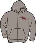 Craig Maroon Bronco Logo on Full Zip Grey Hoodie