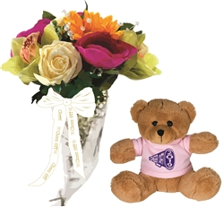 Large Mixed Flower Bouquet with Commemorative Teddy Bear