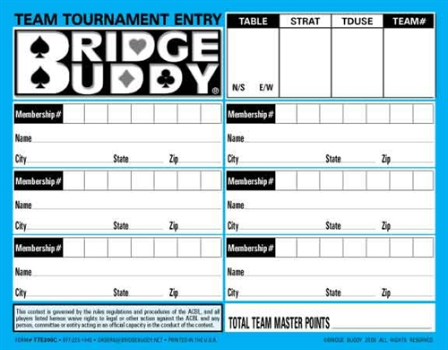 Team Tournament Entry Forms - Pack of 500