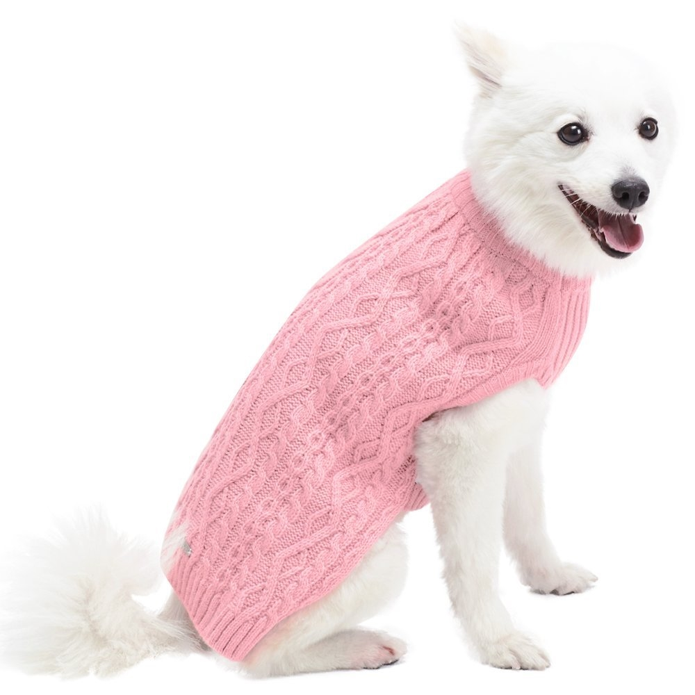 new product 6fce7 19f94 Blueberry Pet Acrylic Classic Cable Knit Dog Sweater