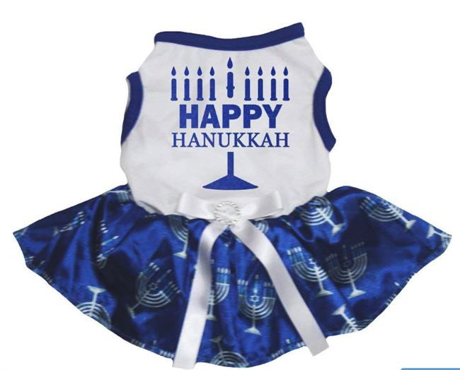 Petitebella Happy Hanukkah White Shirt Blue Candlestick Tutu Puppy Dog Dress