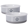 DII Bone Dry Stripes Ceramic Pet Bowl For Food & Water, With Non-Skid Silicone Rim for Dogs and Cats