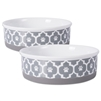 DII Bone Dry Lattice Ceramic Pet Bowl For Food & Water, With Non-Skid Silicone Rim for Dogs and Cats