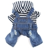 DOGGYZSTYLE Pet Dog Cat Clothes Blue Striped Jeans Jumpsuits