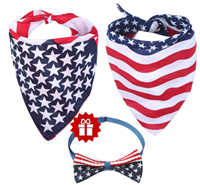 American Flag Dog Bandana Triangle Bibs Scarf Accessories Collar with Bow Tie for Dogs Pets Animals