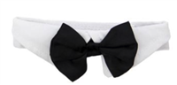 White collar with black satin bow tie