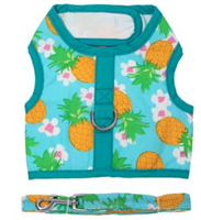Fabric Dog Harness with Leash - Pineapple Luau
