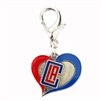 Los Angeles Clippers Swirl Heart Dog Collar Charm