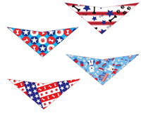 Elegant Pup Patriotic Dog Bandanas | Set of 4 | Red, White and Blue | Celebrate The 4th of July with Your Puppy