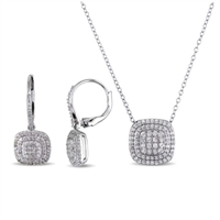 DELMAR JEWELRY 1 CT Diamond Necklace and Earring Set in Silver