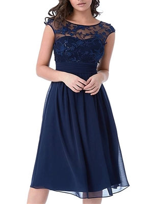 Navy Lace Sequin Midi Dress