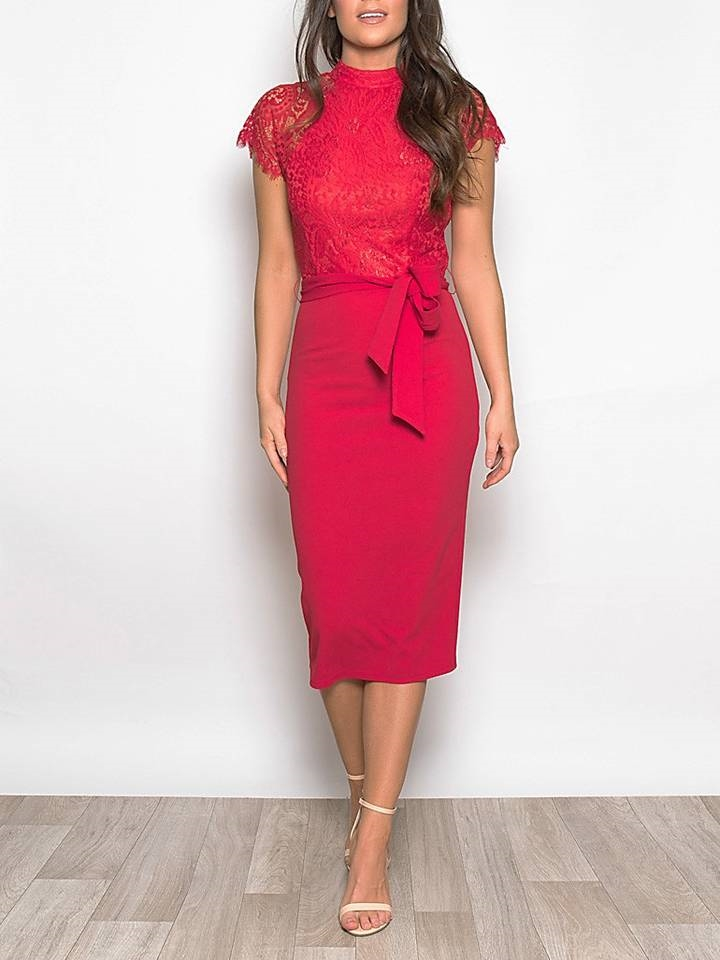 f7e5f22aabae AISLING RED LACE MIDI DRESS - FREE DELIVERY INCLUDED!