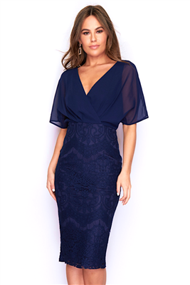 Navy batwing dress