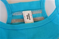 examples of personalized name labels placement on various clothing, articles