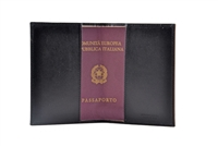 Cuoieria Fiorentina Leather Passport Wallet - Black