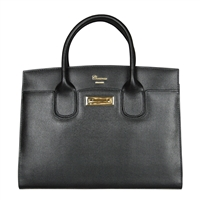 Cuoieria Fiorentina Aurora Saffiano Leather Handbag - Black