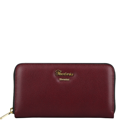 Cuoieria Fiorentina Women's Tumbled Leather Wallet - Bordeaux