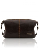 Tuscany Leather TL140349 Roxy Leather toiletry bag - Dark Brown
