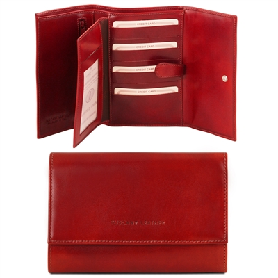 Tuscany Leather TL140796 Exclusive leather wallet for women- Red