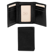 TL140801 Exclusive 3 Fold Leather Wallet for Men - Black