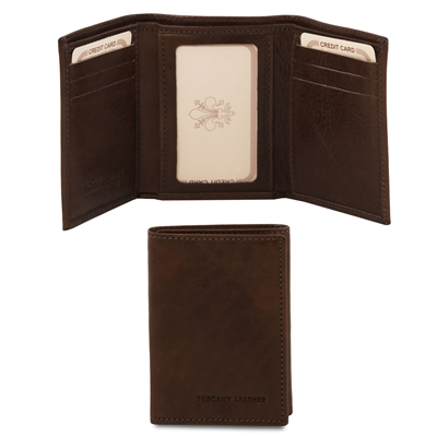 TL140801 Exclusive 3 Fold Leather Wallet for Men - Dark Brown