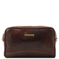 Tuscany Leather TL140850 Igor Leather Toiletry Bag Dark Brown
