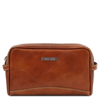 Tuscany Leather Igor Leather Toiletry Bag-  Honey | Shop | Australia