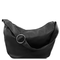 Tuscany Leather Yvette Hobo Bag - Black | Leather Bags Australia