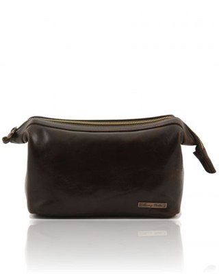 Tuscany Leather Ronny TL140979 Leather toilet bag - Dark Brown