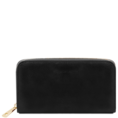 Tuscany Leather TL141206 Zippered black leather wallet for women