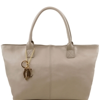 "Tuscany Leather TL141207 Leather ""Sauvage"" shoulder bag - Light Grey"
