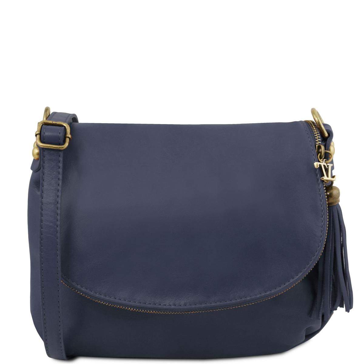 d5af1adf804 TL141223 Soft leather shoulder bag - Dark Blue   Tuscany Leather ...