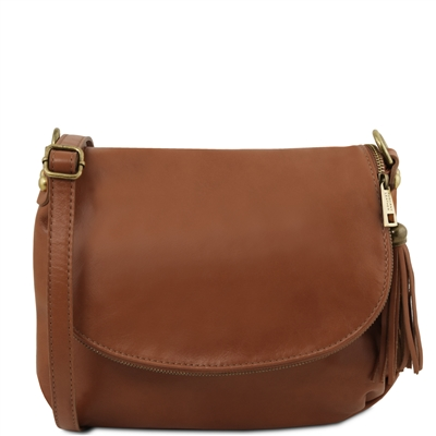Tuscany Leather Small Soft leather shoulder bag -Cinnamon | Genuine Leather Bags Australia